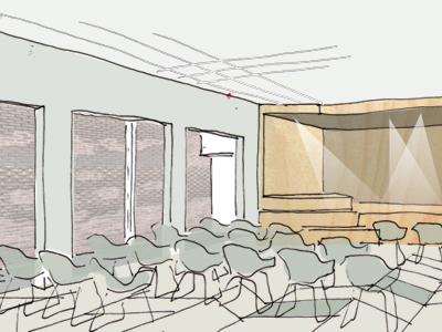 schets architect grote zaal tumb