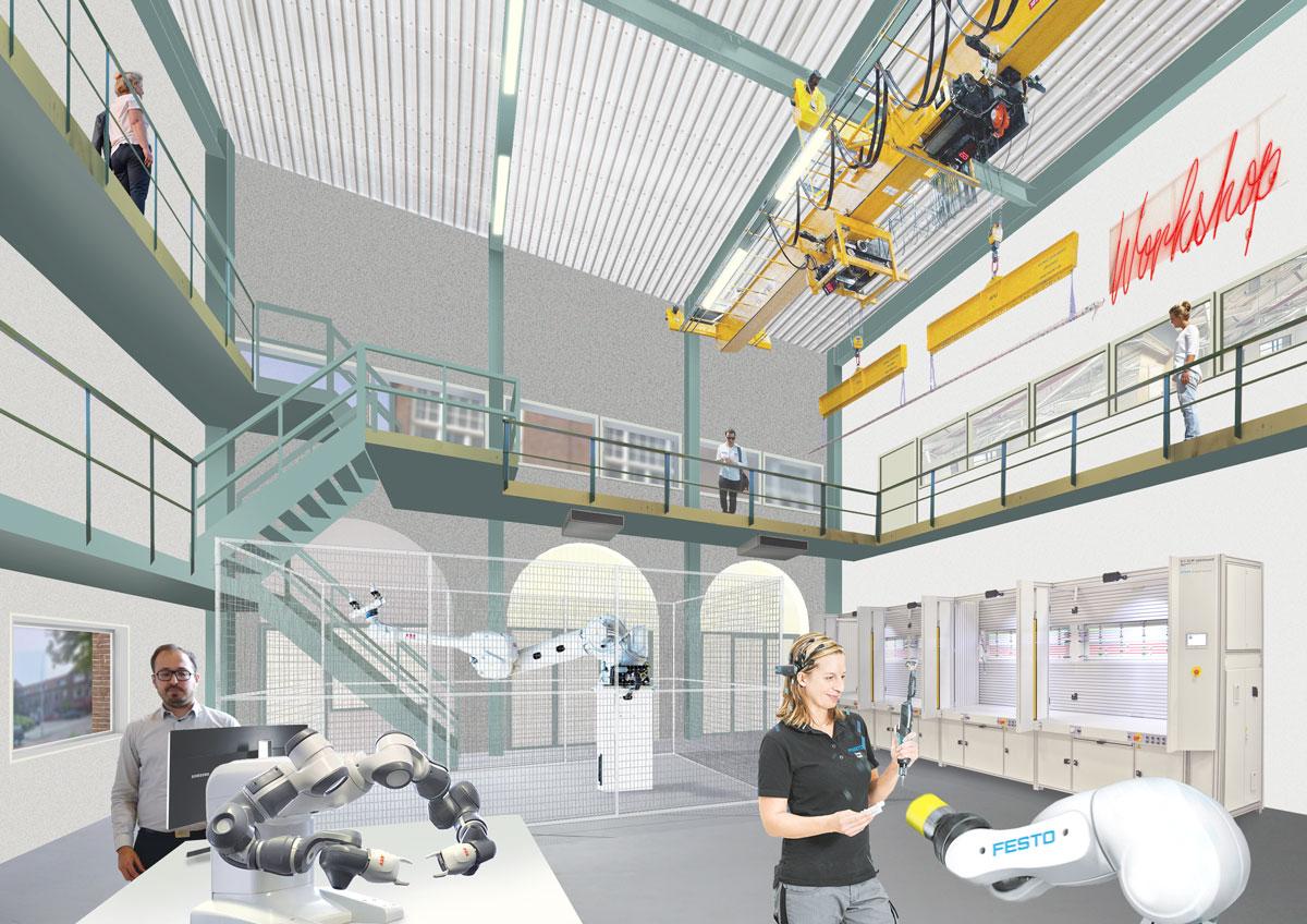In de bestaande industrie hal komen de opstellingen met grote robots.