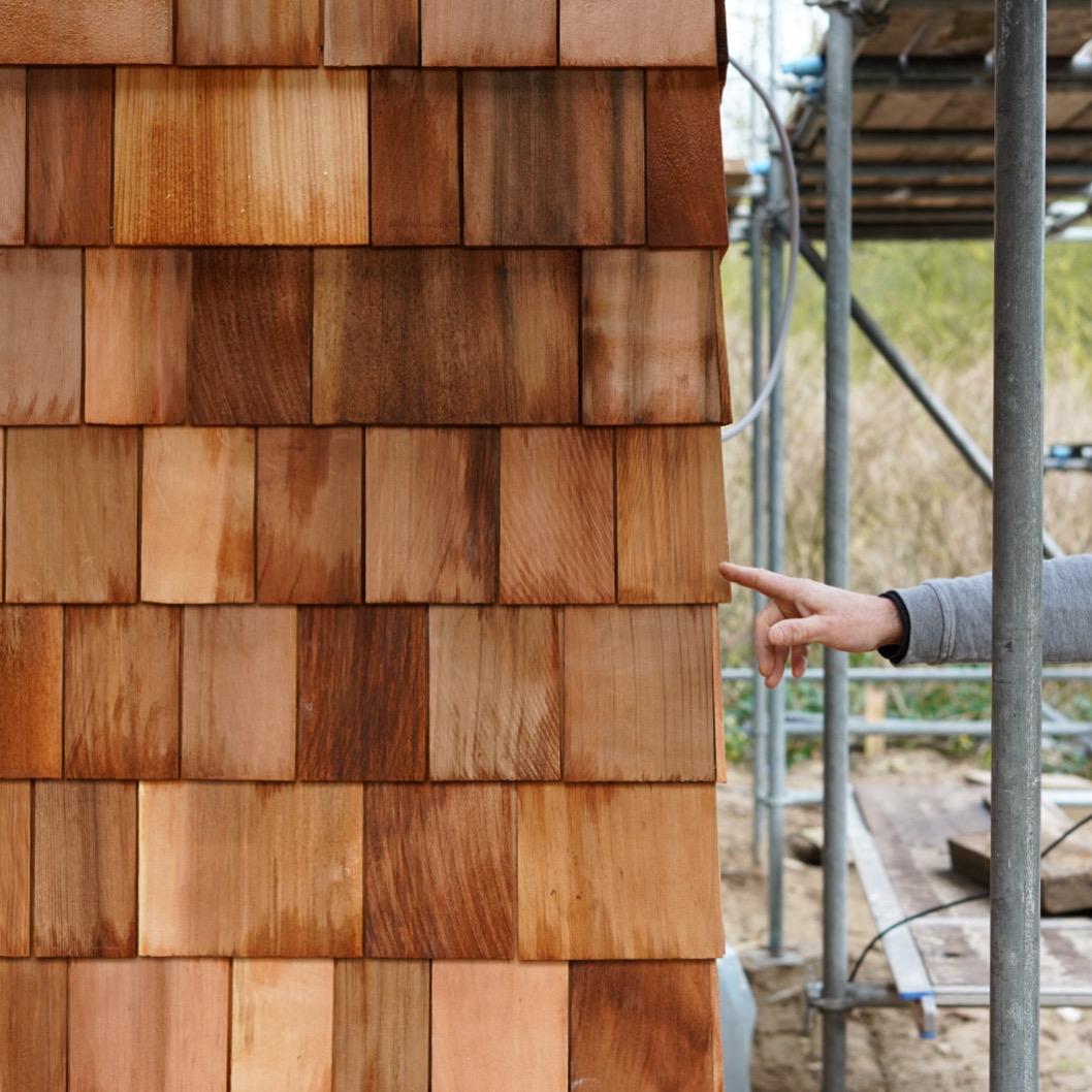 architectuur maken hergebruikt hout shingles